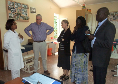 From right to left: TERREWODE Board Member David Amudu, TERREWODE Executive Director Alice Emasu, Uganda Fistula Fund for TERREWODE Co-Founder Bonnie Ruder and CEO of Hamlin Fistula International Martin Andrews receive a tour around the Hamlin Fistula Hospital facilities.